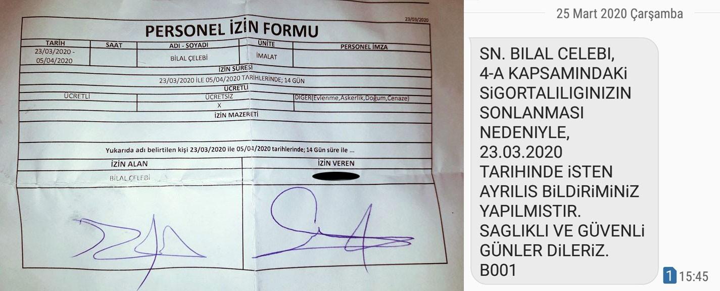 Gözde Moda işçisi Bilal Çelebi'ye imzalatılan ücretsiz izin formu ve işten çıkarıldığına dair SMS.