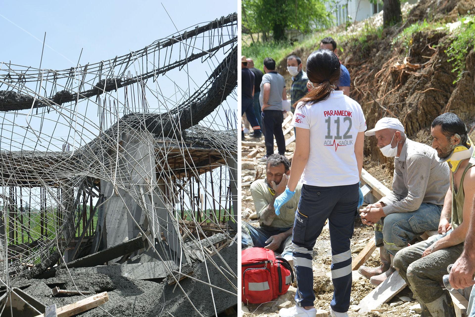 Çöken inşaat (solda) ve yaralı işçiler (sağda)