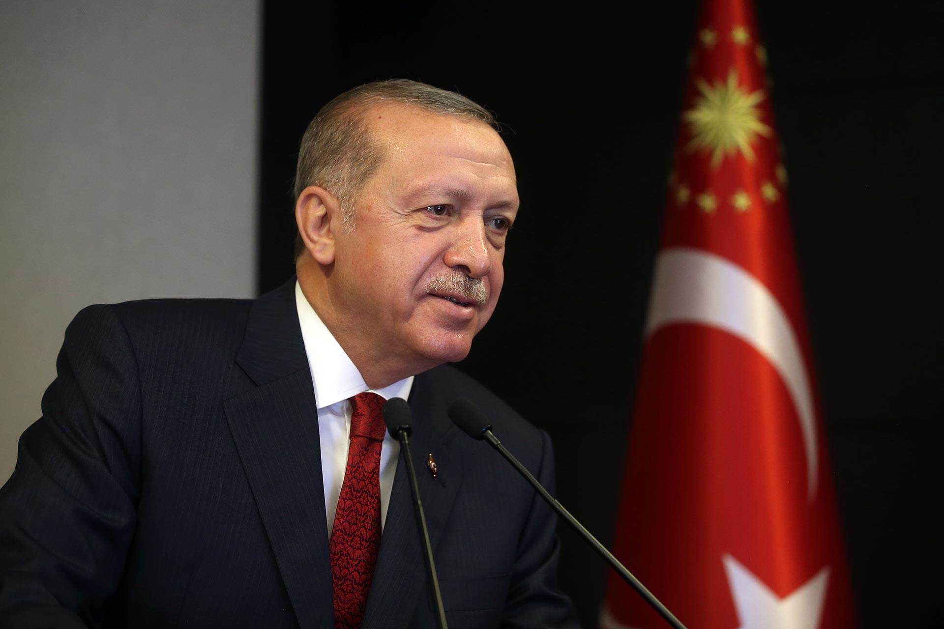 Cumhurbaşkanı Recep Tayyip Erdoğan, video konferans yöntemiyle katıldığı 23. Dönem Adli Yargı Hakim ve Cumhuriyet Savcıları Kura Töreni'nde konuşmasını yaparken.