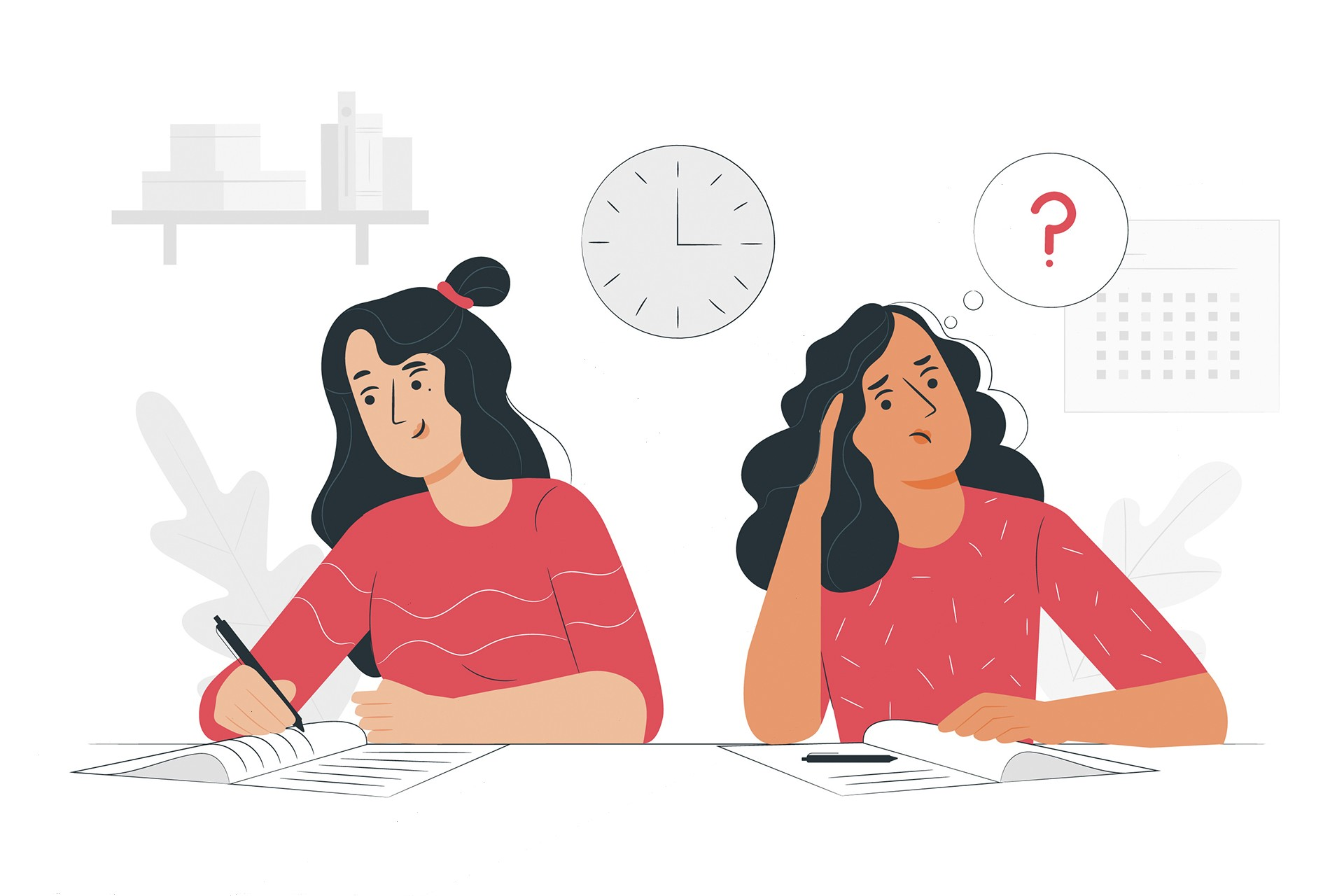 iki kadın sınavda telaş içinde