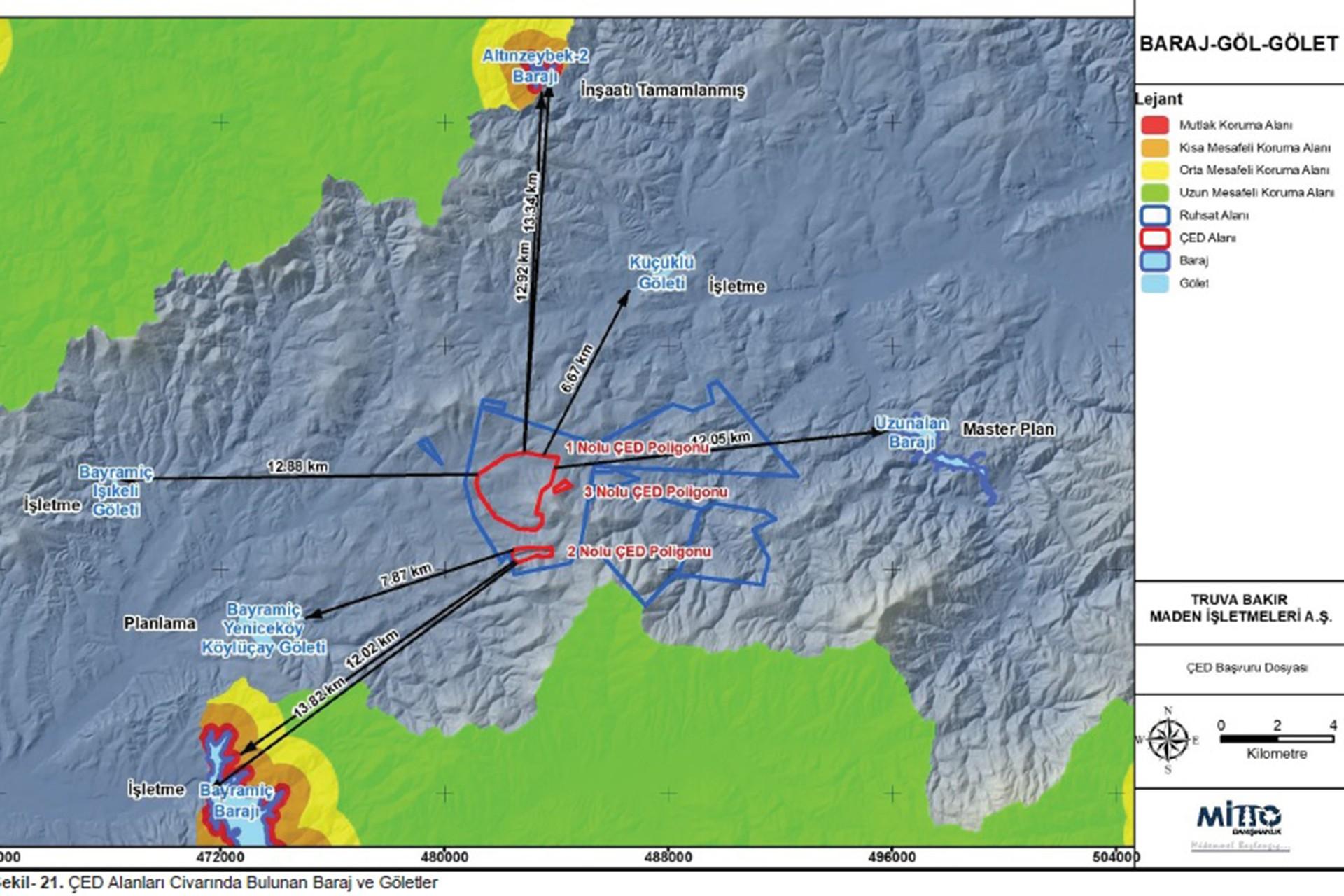 Maden bölgesini gösteren harita