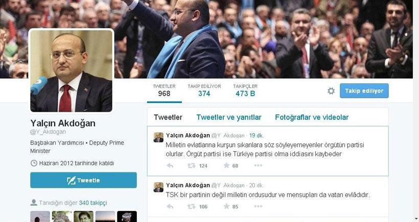 Başbakan Yardımcısı Akdoğan'dan kışkırtıcı tweetler