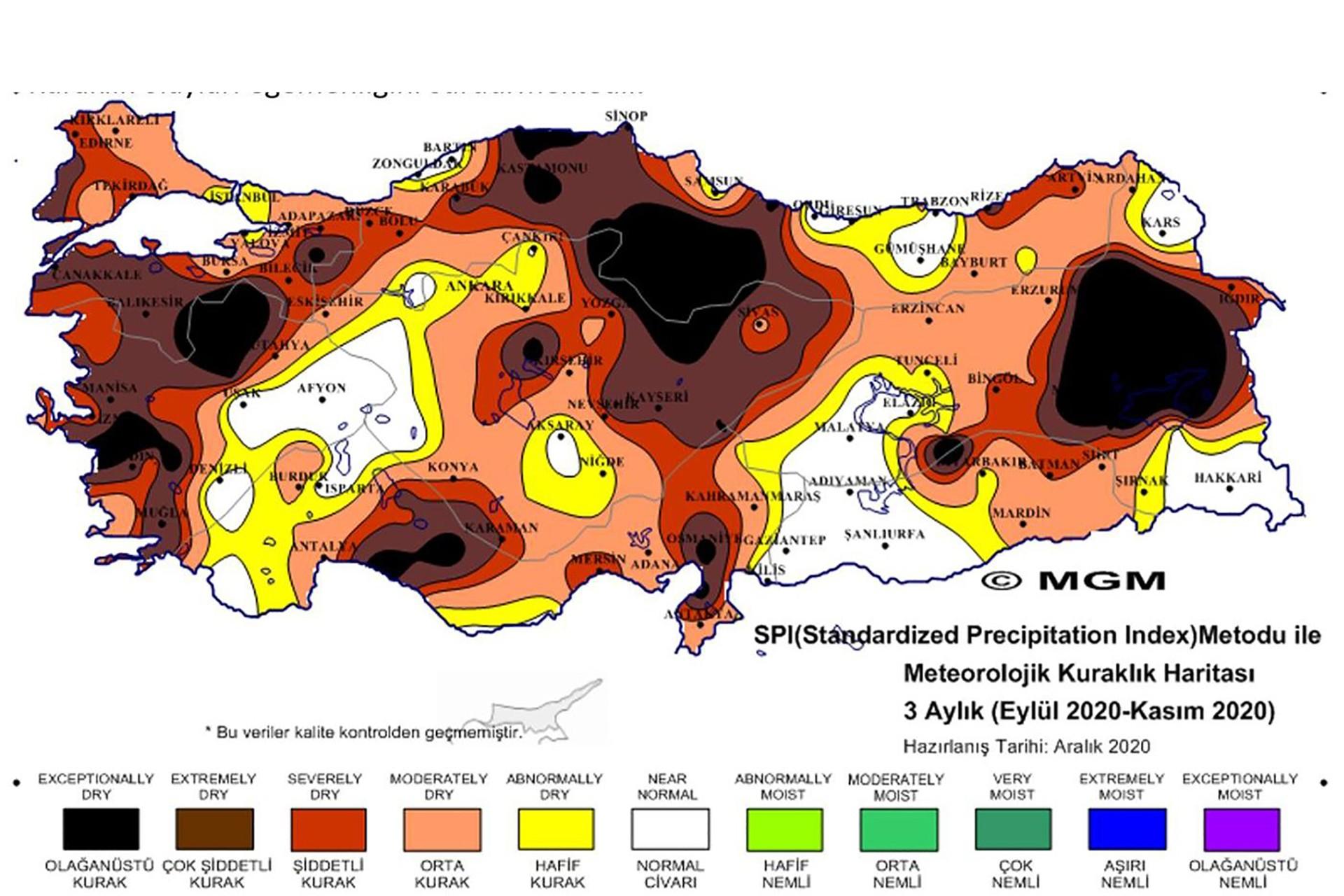 Türkiye'nin kuraklık haritası