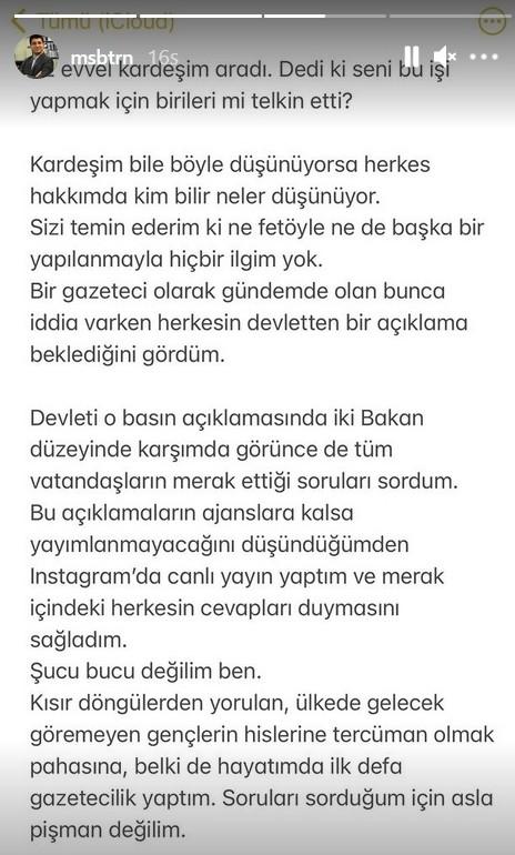 Musab Turan'ın Instagram hesabında paylaştığı iletinin ekran alıntısı