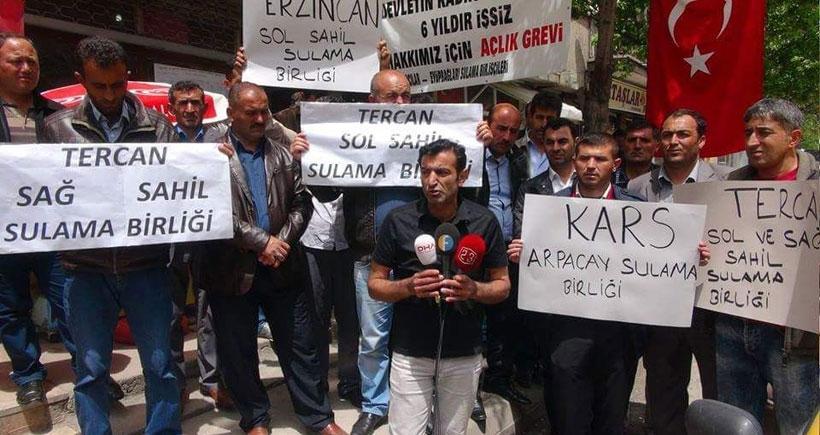 Sulama birliği işçilerinin açlık grevine Kars ve Erzincan'dan destek