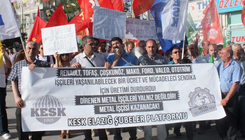 Elazığ'dan metal işçilerine destek!