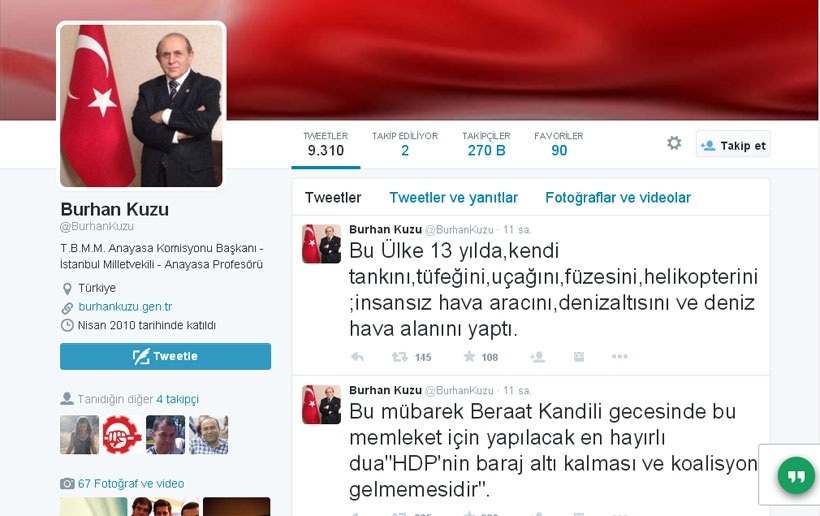 Burhan Kuzu'nun Kandil duası: HDP barajın altında kalsın