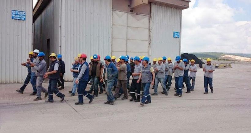 Sançim işçileri 2 saat iş bıraktı