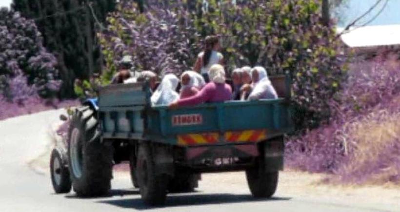 Kazadan 24 saat bile geçmeden işçiler yine traktörlerin römorklarında