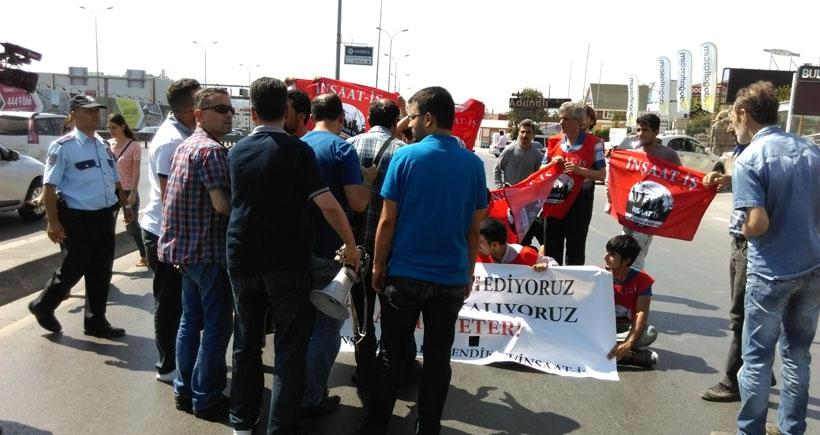 Ücretlerini alamayan inşaat işçileri Bulut İnşaat önünde eylem yaptı