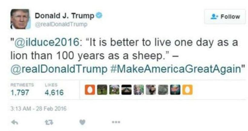 Trump'tan Mussolinili Twitter mesajı