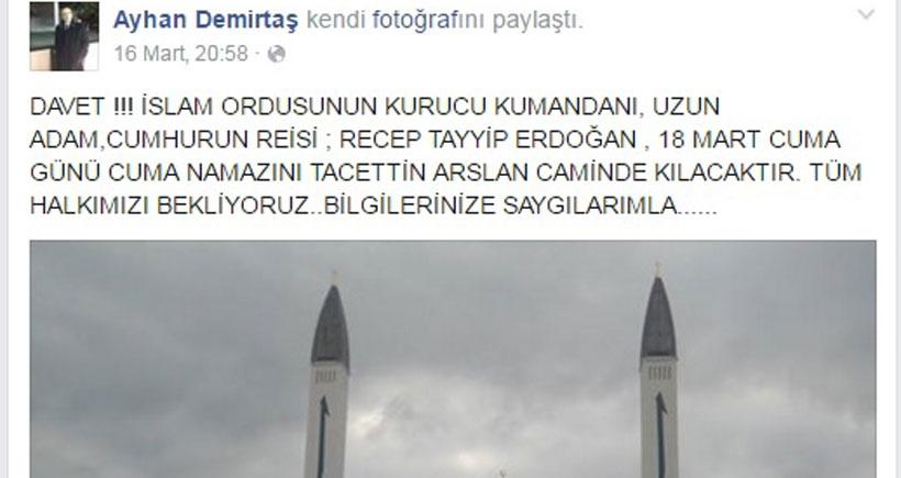 AKP'li yönetici, Erdoğan'ı 'İslam Ordusu kurucu komutanı' olarak tanıttı