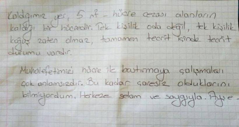 Tutuklu ÖHD'li avukat Ayşe Gösterişlioğlu tek kişilik hücreye kondu