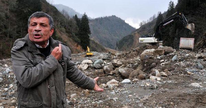 300 bin kişinin içme suyu kaynağı olan dereye iş makineleri ve kamyonlar girdi