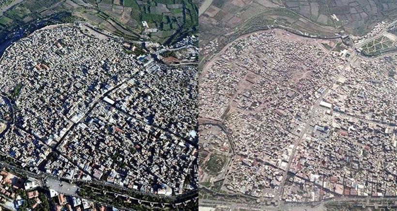 Havadan çekilen fotoğraflarla Sur'da yıkımın boyutları