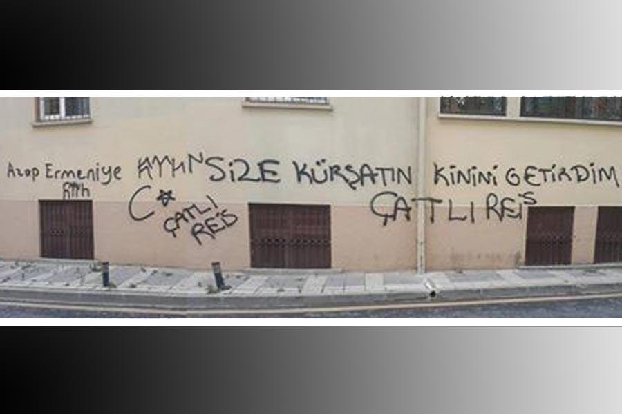 Ermeni lisesinin duvarlarına ırkçı, tehdit yazılamaları