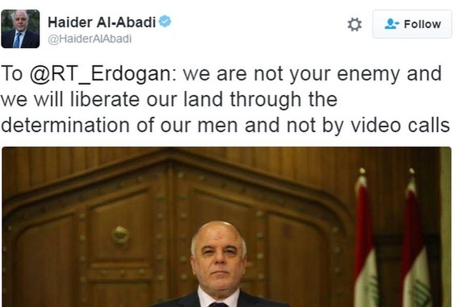 Irak Başbakanı, Erdoğan'a Twitter'dan cevap verdi