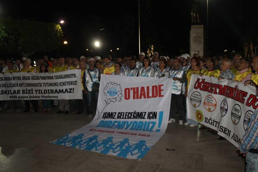 KESK Adana yürüyüş kolu, miting yasağına tepki gösterdi