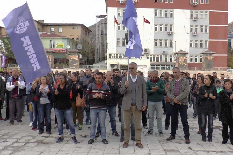 Kamu emekçileri 'cadı avı'nı Dersim'de protesto etti
