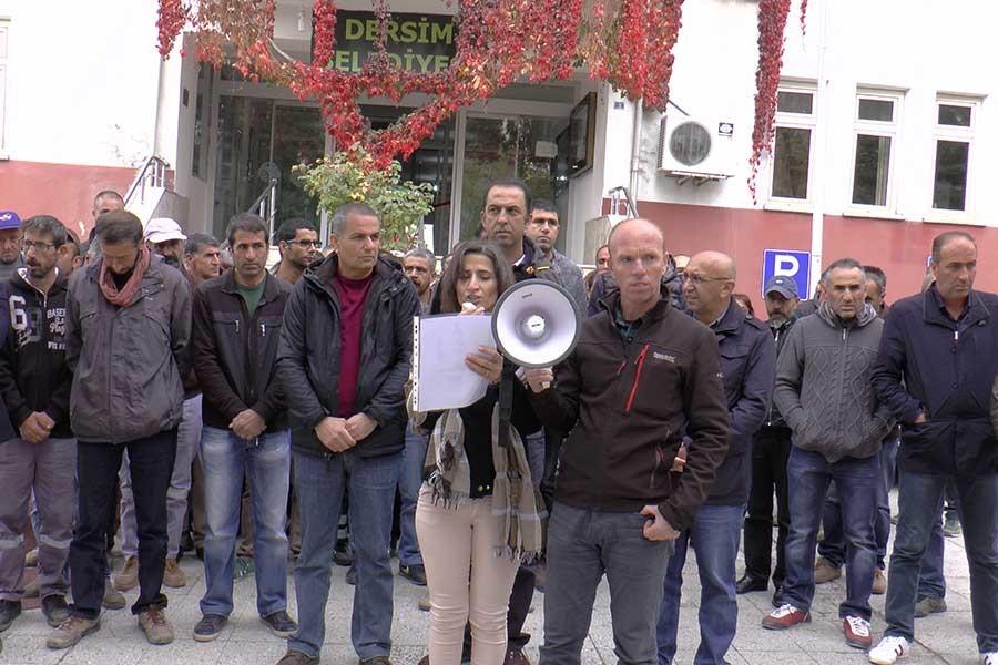 Dersim'de belediye işçileri kayyıma karşı iş bıraktı