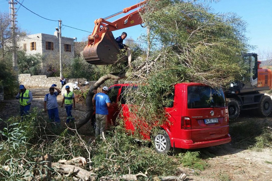 Datça'da lodos evlerin çatılarını uçurdu