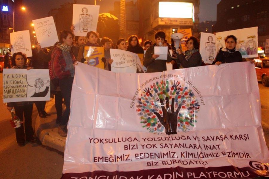 Zonguldak'ta kadına yönelik şiddet protestosu