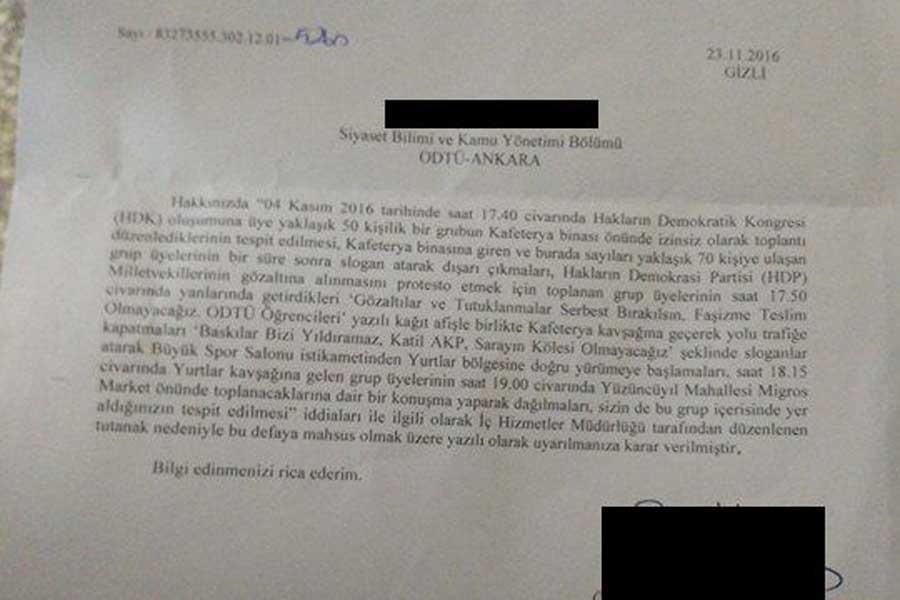 ODTÜ'de HDP'li vekillerin tutuklanması protestosuna ceza