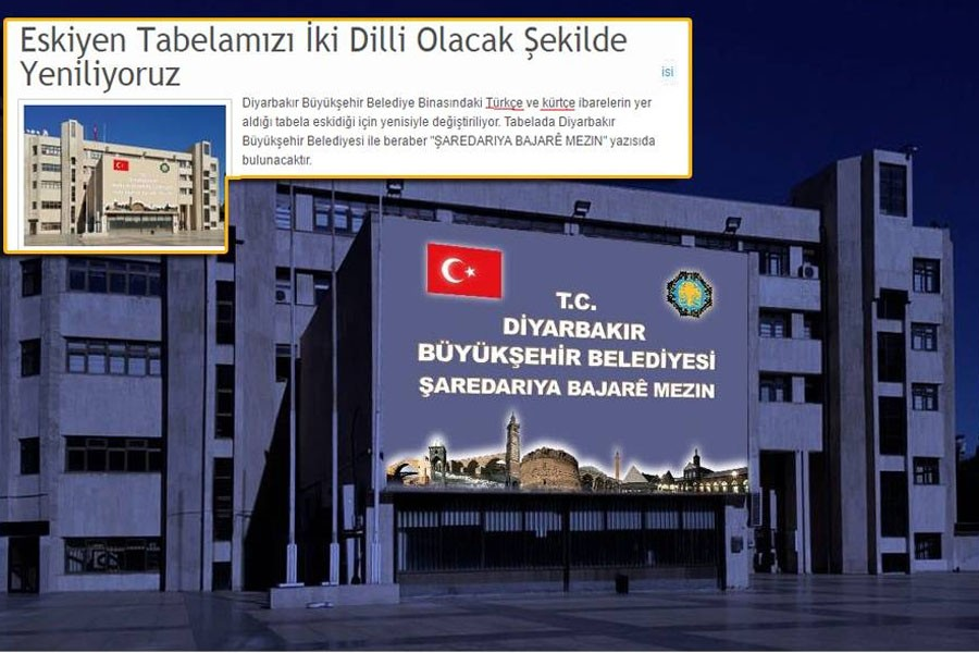 Diyarbakır kayyımı, belediye tabelasından Amed'i kaldırıyor