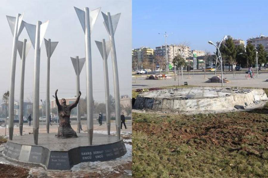 Diyarbakır'daki Roboski Anıtı yıkıldı, isimler parçalandı