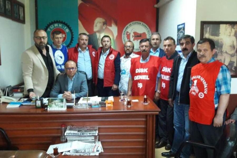 DİSK Trakya şubelerinden Kristal-İş'e destek ziyareti