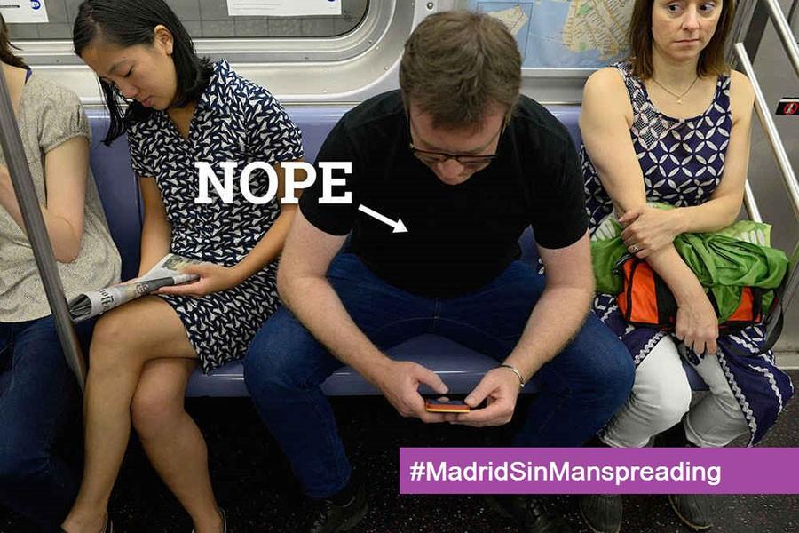 Madrid Belediyesi'nden erkeklere: Yayılarak oturmayı kes