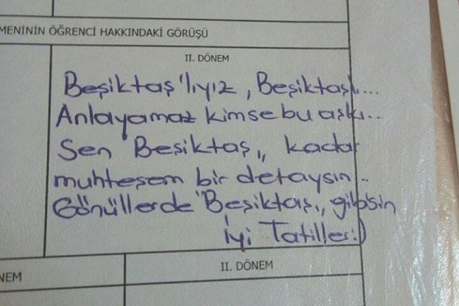 Öğretmenin Beşiktaş aşkı, karneye yansıdı