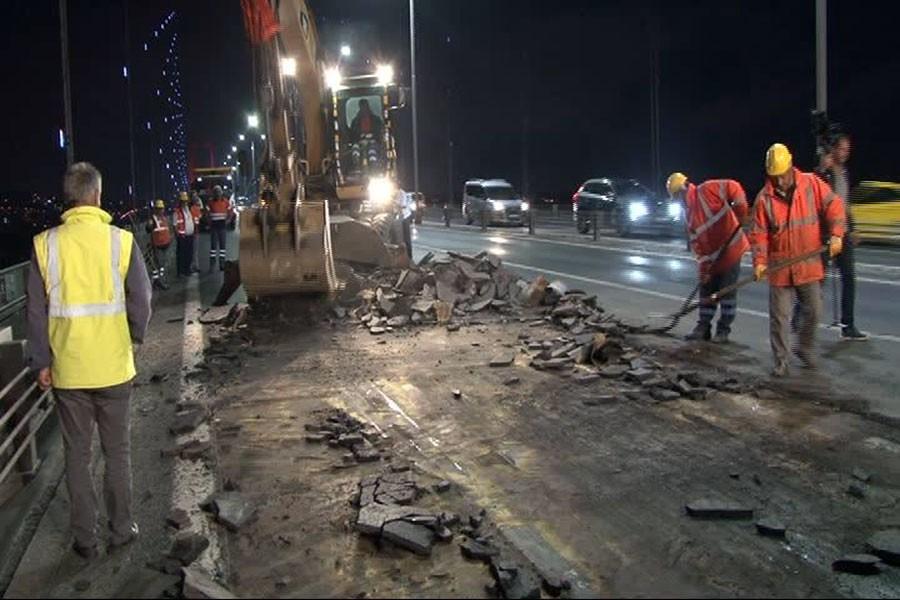 15 Temmuz Şehitler Köprüsü'nde bakım onarım çalışması