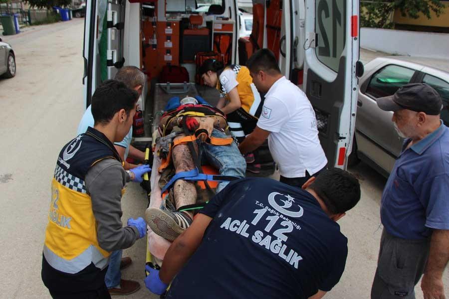 Bolu'da akıma kapılan işçi yaralandı