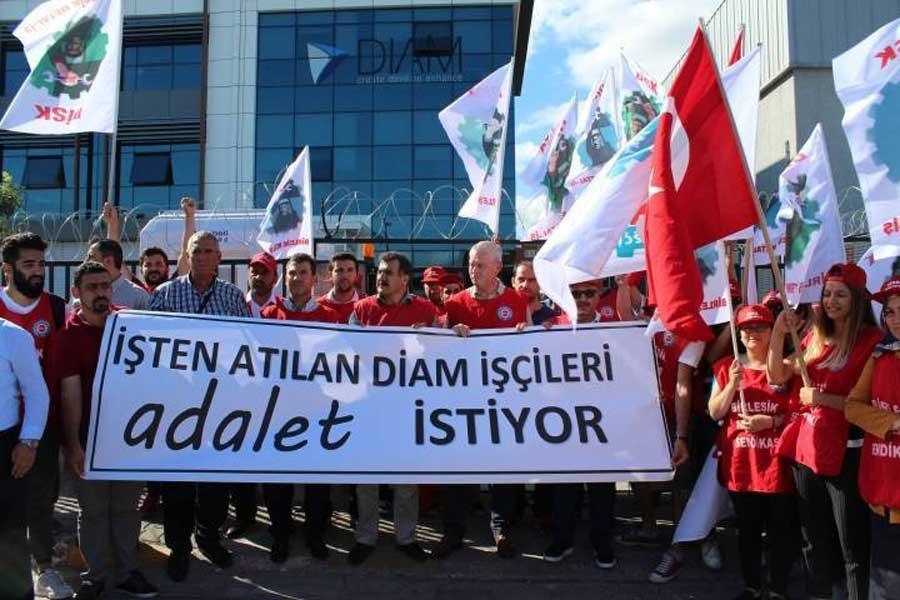İşten atılan DİAM işçilerine uluslararası destek