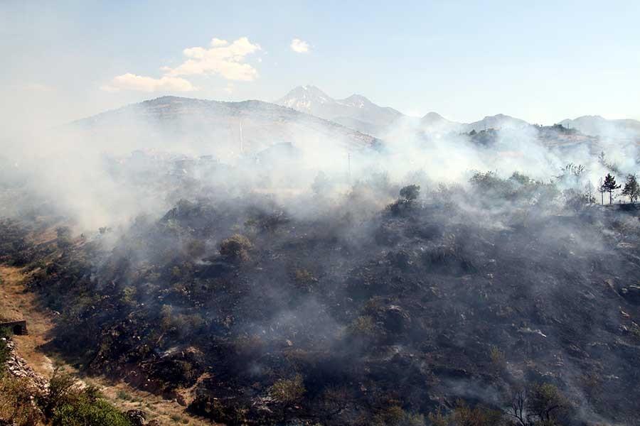 Kayseri'de otluk alanda yangın