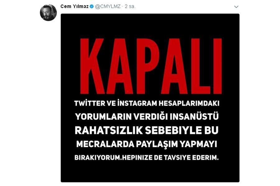 Cem Yılmaz ve Ozan Güven sosyal medya hesaplarını kapattı