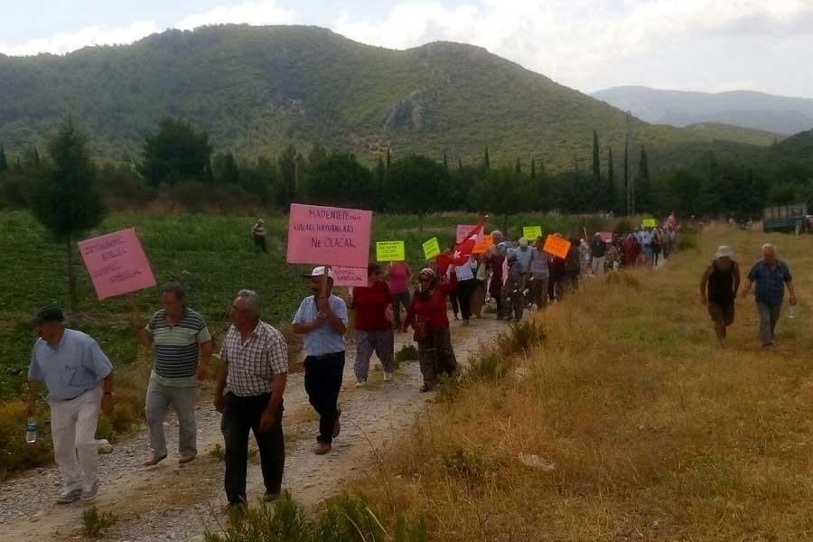 Yeniköylüler taş ocağına karşı yürüdü: Daş garın doyurmaz