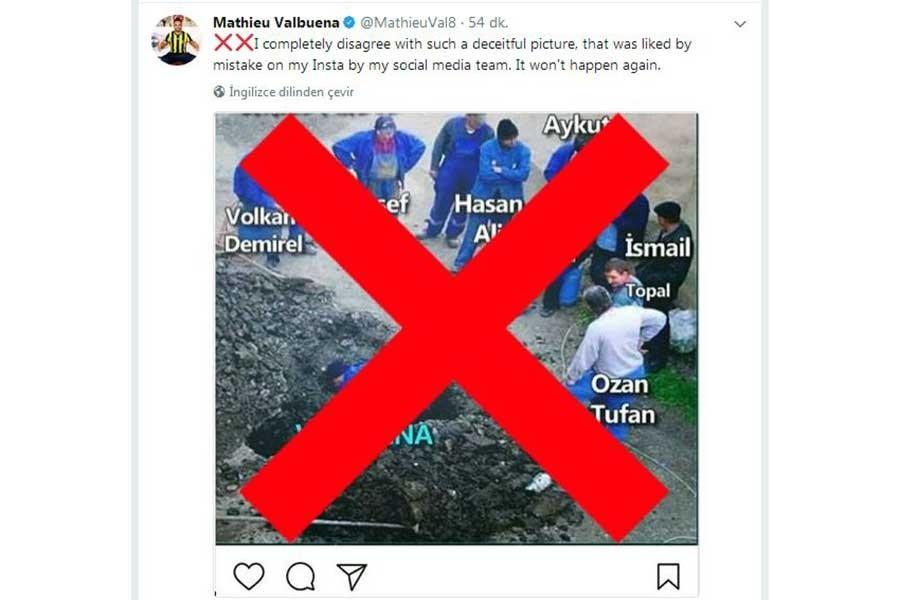 Valbuena: O fotoyu sosyal medya ekibim yanlışlıkla beğendi