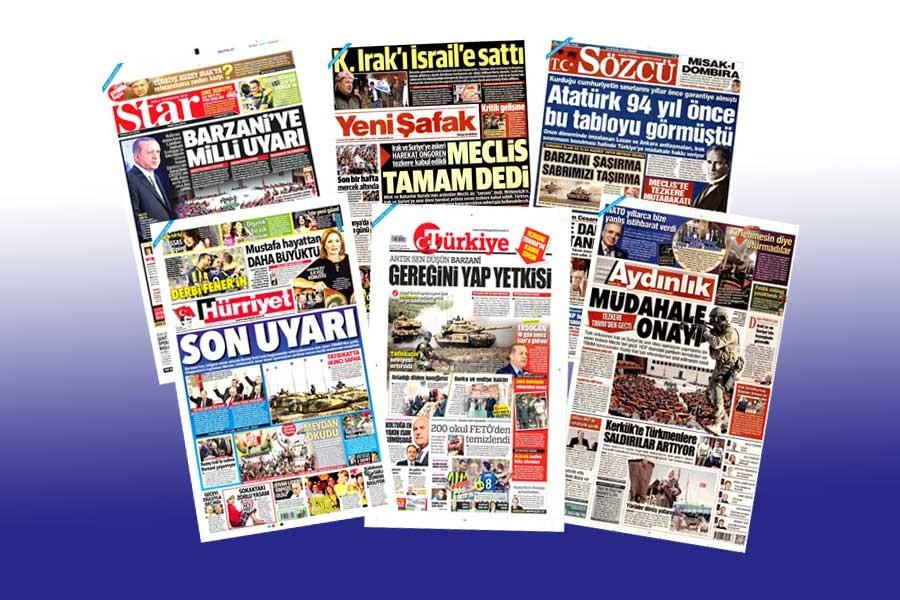 Gazetelerde tehdit ve savaş kışkırtıcılığı