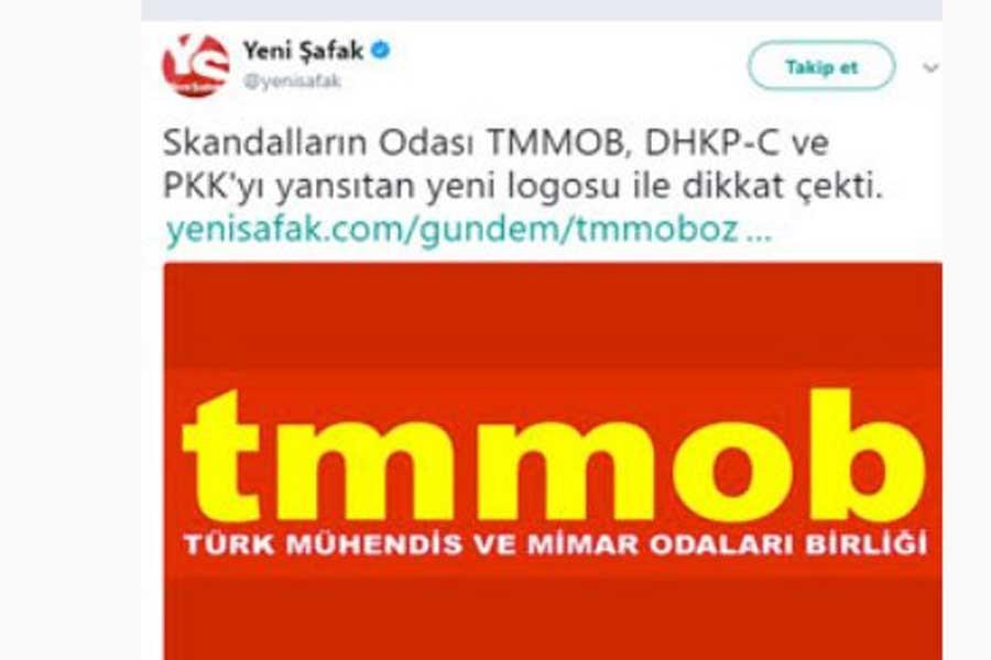 Yeni Şafak'ın TMMOB logosu haberine cevap: Pespaye iftira