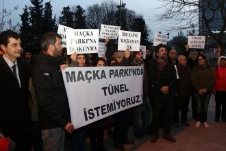 Maçka Demokrasi Parkı'ndaki inşaat protesto edildi