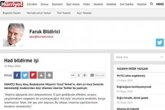 Hürriyet Okur Temsilcisi Bildirici'den Ahmet Hakan'a Atay eleştirisi