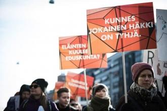 Finlandiya'da kürk sanayisinin kalbinde eylem