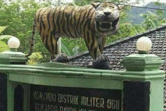 Endonezya ordusu alay konusu olan kaplan heykelini parçaladı