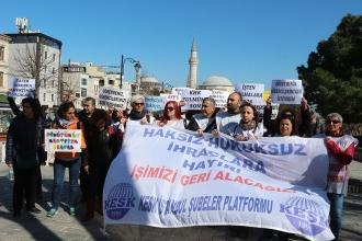 KESK üyeleri ihraçları protesto etti