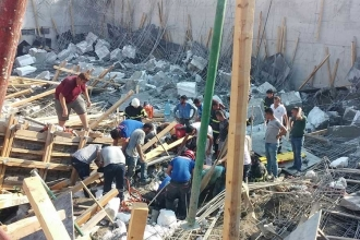 Hatay'da okul inşaatında göçük: 1 ölü, 3 yaralı