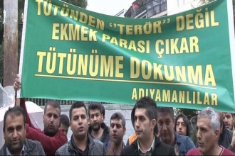 Taksim'de Adıyamanlı tütüncülerden eylem