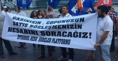 KESK üyelerine Ankara'daki polis saldırısı İstanbul'da protesto edildi