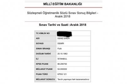 KPSS Türkiye birincisi olan Deniz Eren Demir'i mülakatla elediler